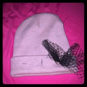 Pink hat with black bow
